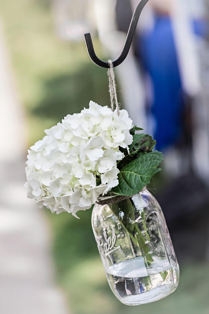 Hanging White Hydrangea Mason Jar Aisle Decorations