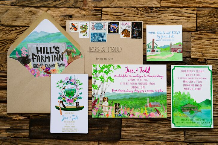"Jess and Todd tapped Ontario-based Karli Strohschein to create a suite of custom watercolor save-the-dates and wedding invitations for their Sunderland, Vermont, affair. For the save-the-dates, the she created a crest with the couple's initials and two dogs paddling in a canoe. The invitations featured an illustration of the rehearsal and wedding venues, as well as a scene of Jess and Todd's dogs hanging out by the split-rail fence; the couple had planned to say their ""I dos"" in front of them. ""All of her designs perfectly matched the spirit of the event we wanted to create—joyful, fun, colorful and relaxed,"" Jess says. ""Our crest ended up on beer koozies and a huge canvas that our family had made for us as a surprise."""