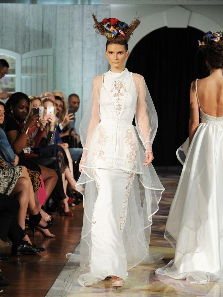 Dany Mizrachi Fall 2019 high neck illusion bell sleeves wedding dress