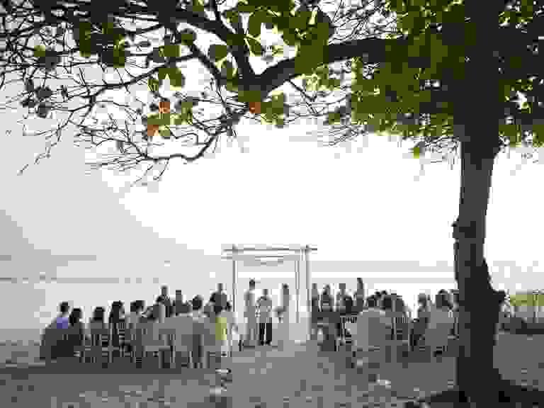 Destination wedding beach ceremony