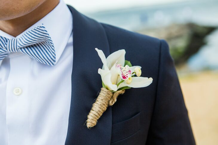 Burlap-Wrapped Boutonniere with Seersucker Bow Tie