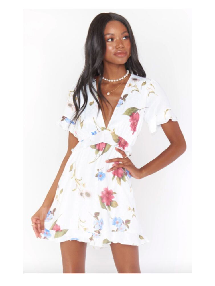 White and pink floral ruffled mini dress