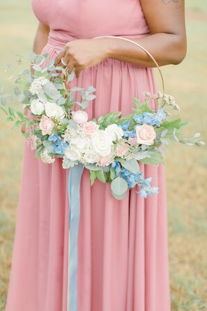Modern Hoop Bridesmaid Bouquet for Wedding at Larkin's Sawmill in Greenville, South Carolina