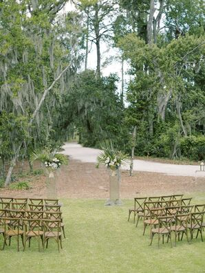 Private Estate Ceremony with Cross-Back Chairs on Lawn