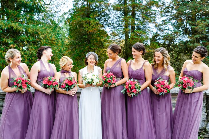 7fcdbf656c3 The bridesmaids wore floor-length BHLDN bridesmaid dresses with different  necklines in soft purple.