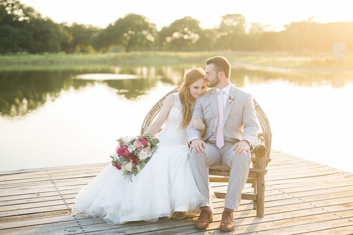 The grounds at the Branded T Ranch in Kendalia, Texas, include a fire pit, a large pond and a spacious lawn that's perfect for mingling with guests.