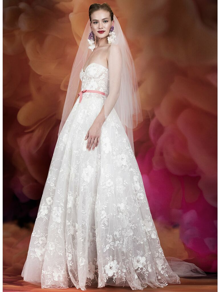 Naeem Khan wedding dress strapless lace ball gown