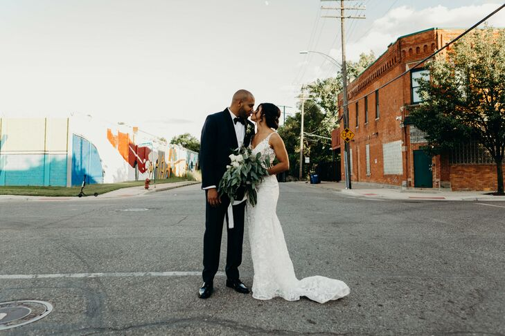 Bride and Groom Portraits at Urban Warehouse Wedding in Detroit, Michigan
