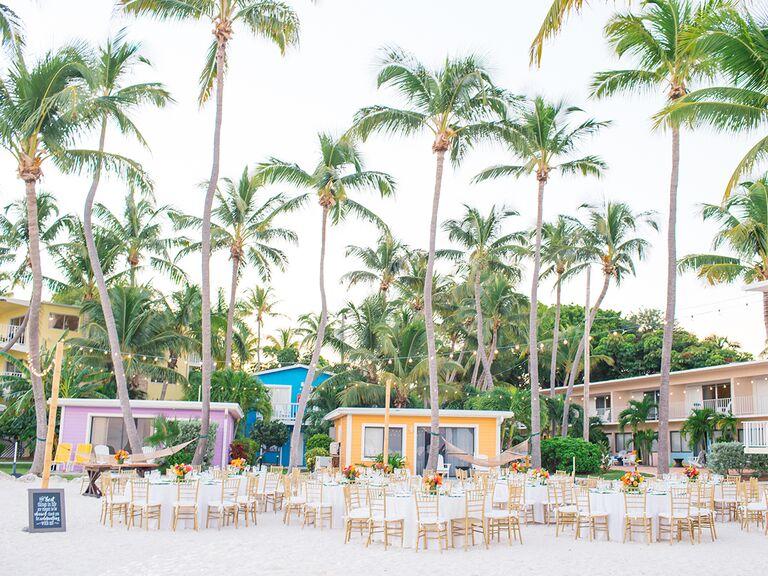 wedding reception set up at La Siesta Resort and Marina in Islamorada Florida