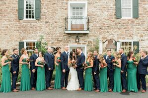 Wedding Party Outside the Bear Mill Estate in Denver, Pennsylvania