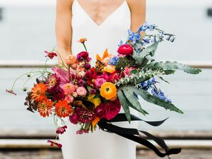 Colorful Bouquet with Roses and Ranunculus