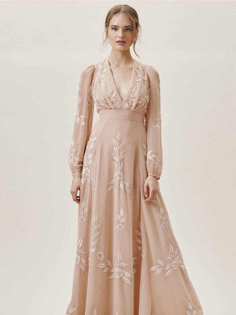 Floral long sleeve BHLDN spring bridesmaid dress