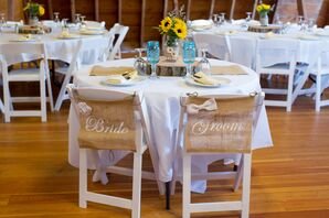 'Bride' and 'Groom' Burlap Chair Signs