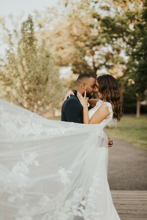 Couple Portraits with Veil at The Loading Dock in Stamford, Connecticut
