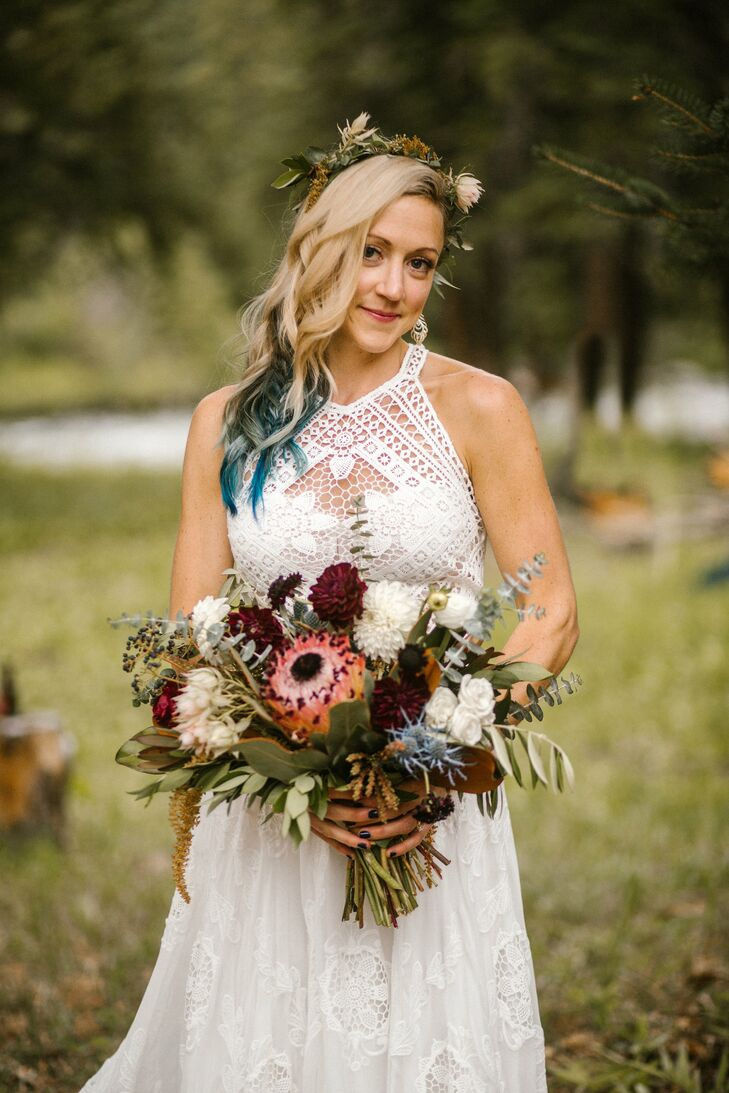 Rustic Bride with Flower Crown and Dahlia Bouquet