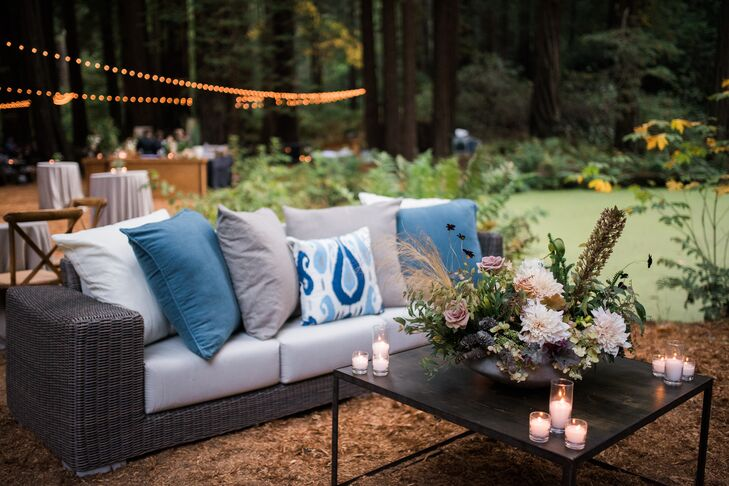 Modern Wicker Lounge Furniture with Blue and Gray Pillows