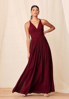 Lulus Love Spell Burgundy Lace-Back Maxi Dress V-Neck Bridesmaid Dress