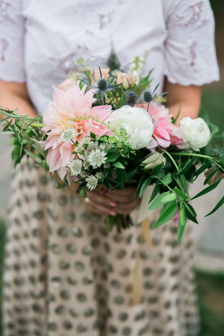 Loose Dahlia and Thistle Bridesmaid Bouquets