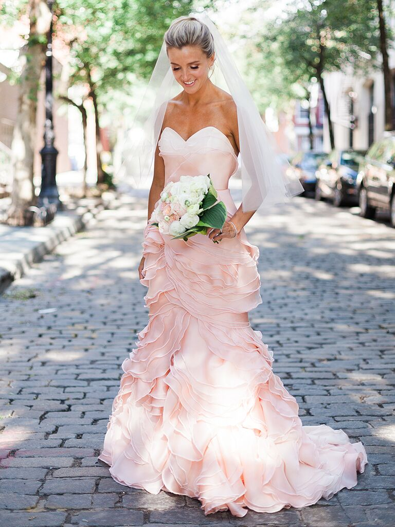 Light Pink Fit And Flare Wedding Gown By Leanne Marshall