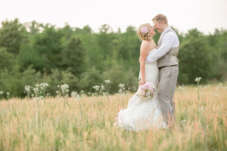 Before the ceremony, the couple took photos in the expansive golden fields surrounding the ranch.