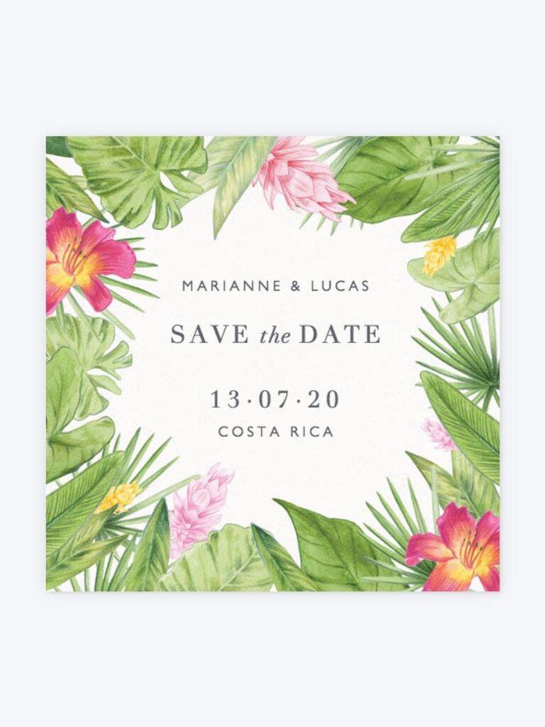 Papier tropical destination wedding save-the-date