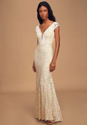 Lulus Icing on the Cake White Lace Short Sleeve Maxi Dress Mermaid Wedding Dress