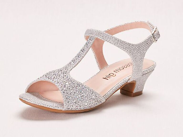 Silver heeled flower girl shoes