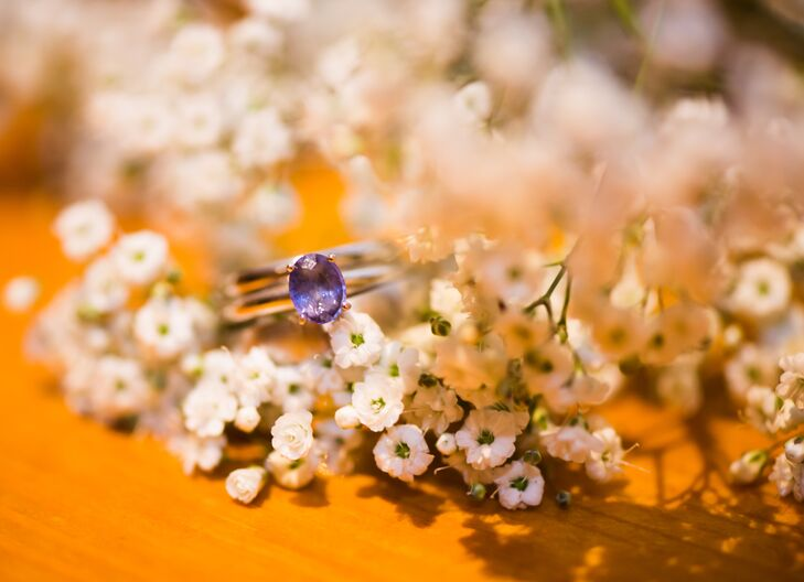 Amethyst Wedding Ring Sitting on Baby's Breath