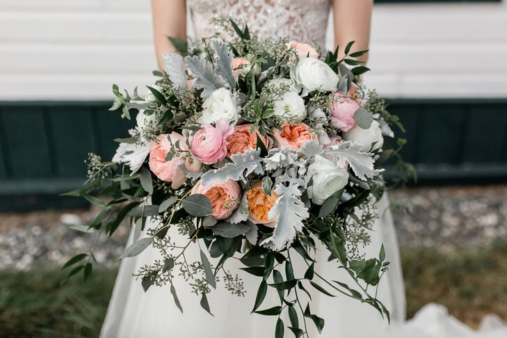 Sage Green and Peach Rose and Ranunculus Bouquet