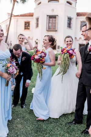 Wedding Party Dress in Black Suits and Light Blue Dresses