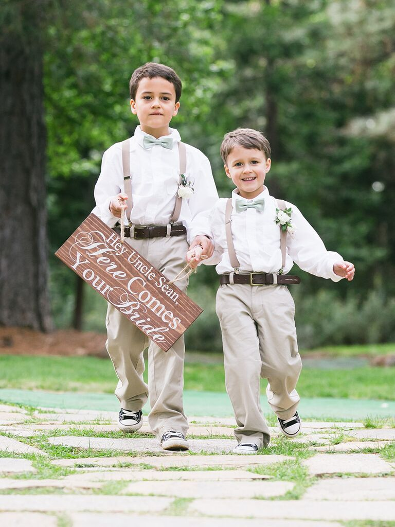 Personalized Wood Ring Bearer Sign For A Rustic Wedding