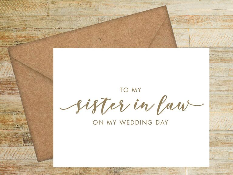 To My Sister-in-Law on My Wedding Day card