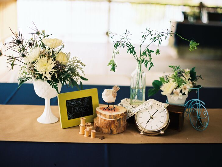 Eclectic, Vintage-Inspired Clock and Bird Centerpieces