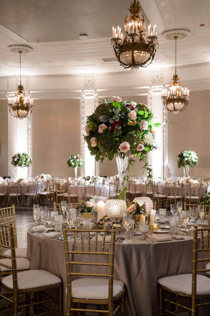 Tall Rose Centerpieces and Textured Glass Orbs
