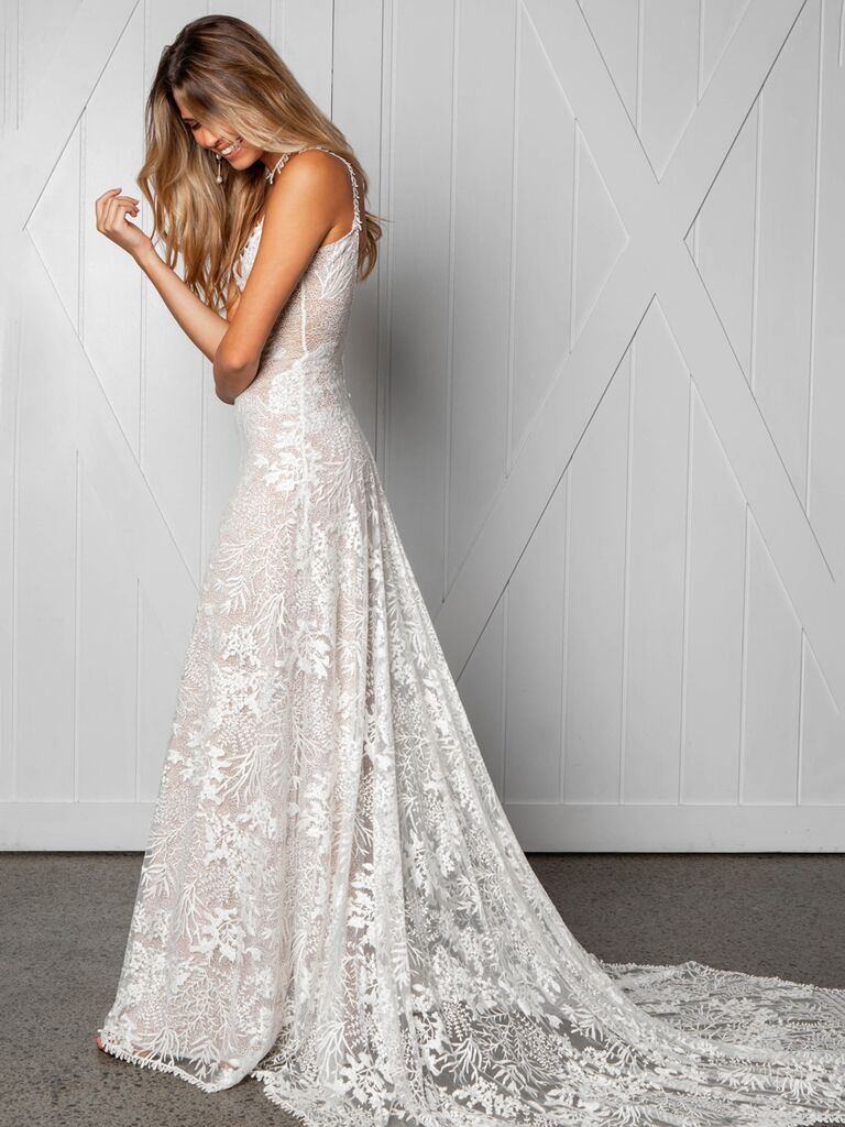 Grace Loves Lace Fall 2019 Bridal Collection modified A-line wedding dress with allover lace