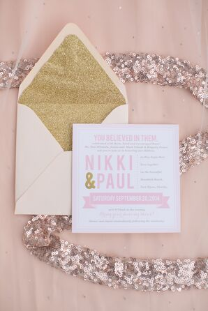 Pink and Gold Glitter Invitation Suite