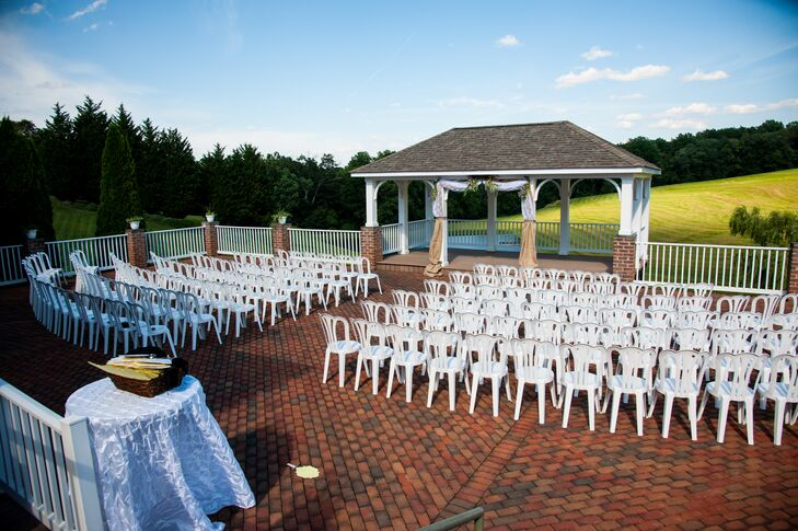 The ceremony took place outside on the patio at Morningside Inn in Frederick, Maryland, where white folding chairs arranged in rows faced the pavilion where Haley and Jeremiah got married.