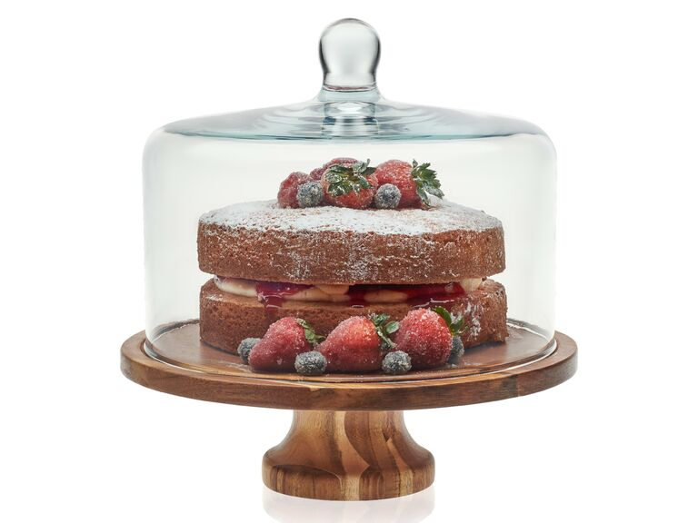 Modern wooden wedding cake stand with glass dome