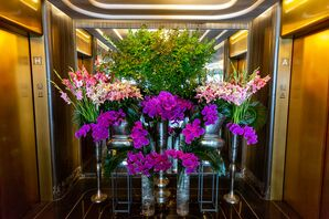 Purple Orchid and Pink Gladiolus Entryway Arrangements