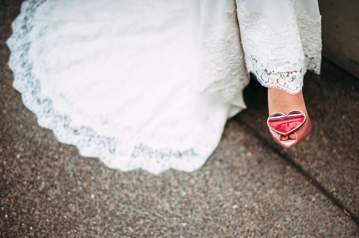 Bride Wearing Ivory Veil and Pink Shoes