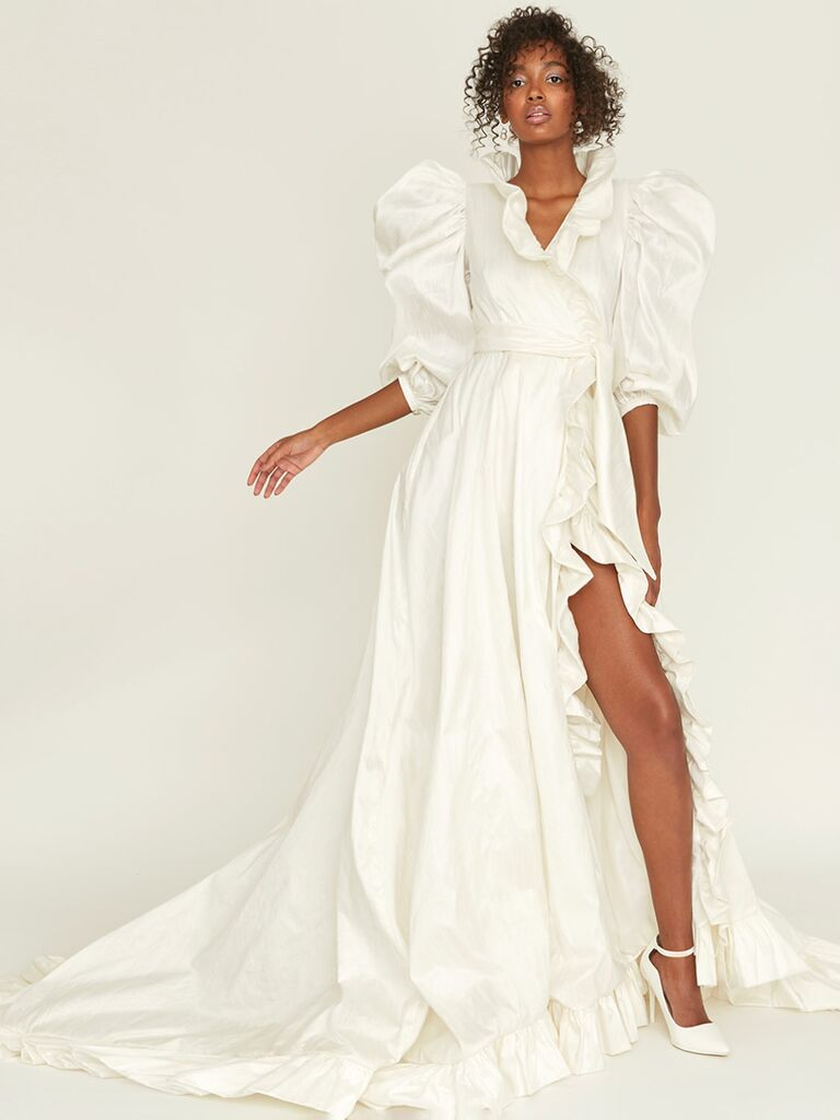 A-line wrap wedding dress with ruffle slit and puf sleeves