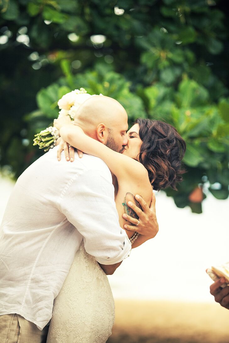 Veronica and Anthony shared their first kiss together at the ceremony on the beach.