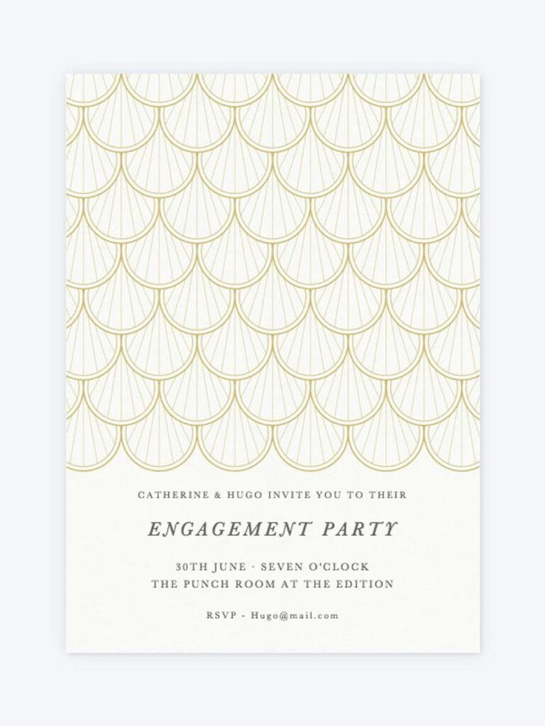 Gold formal engagement party invitation