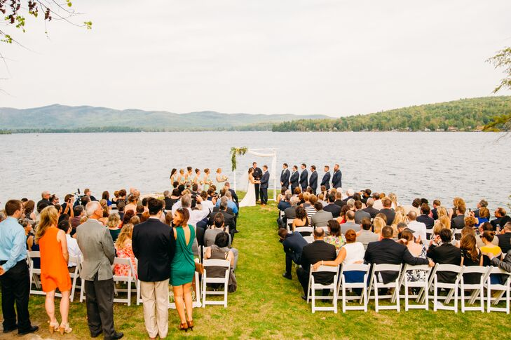 """From the get-go Katherine and Jon knew that they wanted to host their wedding in the Lake George area of upstate New York. The couple came across the Inn at Erlowest, a historic castle done in the Victorian style overlooking Lake George, and were instantly smitten with its old world charm and serene setting.  """"We loved the fact that many of the wedding guests could stay right on site at the Sun Castle Resort Townhouses too,"""" says Katherine."""