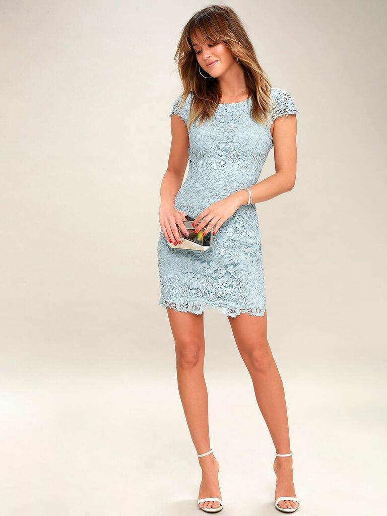 lace midi dress in powder blue with cap sleeves