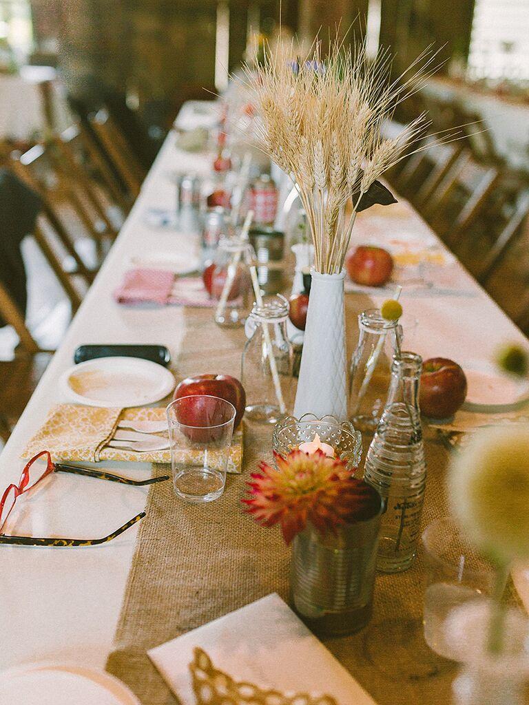 DIY tall grass wedding reception centerpieces