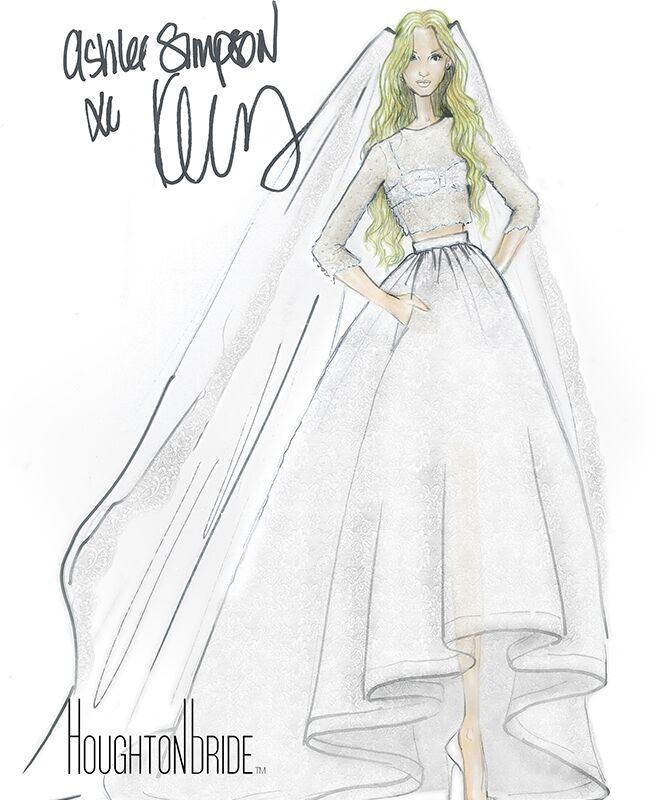 Ashlee simpson wore a crop top wedding dress at her bohemian ceremony ashlee simpson wedding dress sketch junglespirit Images
