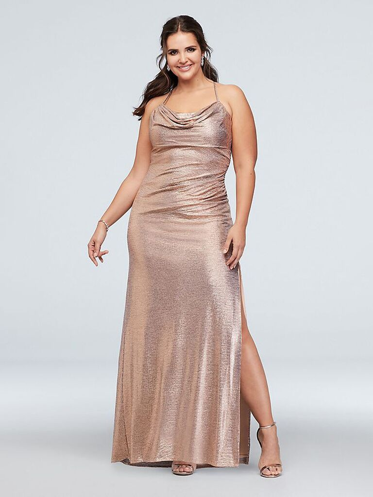 Rose gold bridesmaid dress in plus sizes