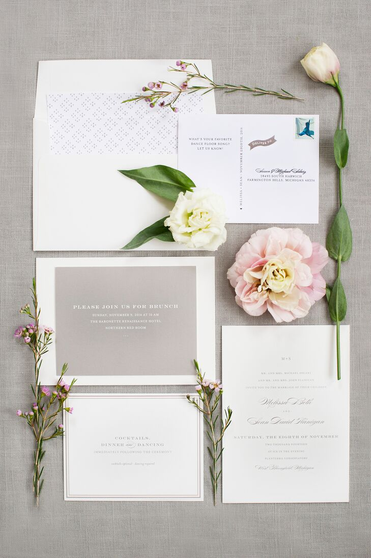 "Since the groom wanted a clean and simple look, the couple opted for a cream and gray invitation suite from Minted. ""We would definitely recommend them!"" Melissa says of the popular stationery vendor."