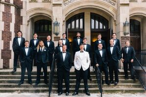 The groomsmen wore black suits with Brackish Bow Ties